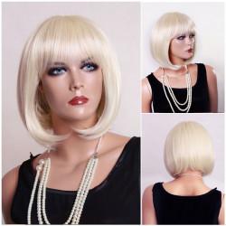 New 100%KANEKALON Neat Bangs Gold BOB Short Women Wig