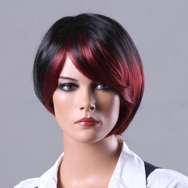 New Fashion Style Short Red Highlight Black Straight Side Bangs Wig Hair Care & Salon