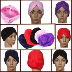 Elastisk Turban Maternity Sleep Hat Chemo Bandana Hijab Plisseret Cap