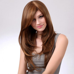 Synthetic Brown Side Bang Curly Long Hairstyle Wig