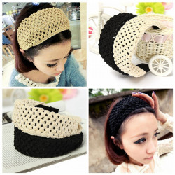 Bred Stickning Hollow Out Pannband Hair Hoop