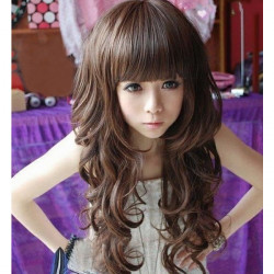 Women Hair Wigs Long Wavy Neat Bang 5 Colors