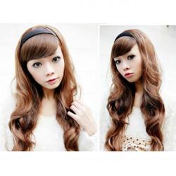 Women Hair Wigs Long Wavy With Black Hoop Headband
