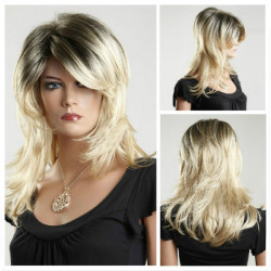 Women Medium Long Wave Hair Wigs Blond Wigs