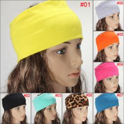 Women Multicolor Elastic Hair Bands Turban Stretch Wide Yoga Headband