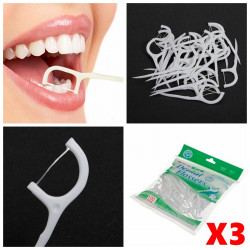 300stk 2 in 1 Tooth Dental Flosser Floss Picks Zähne sauber Speisereste