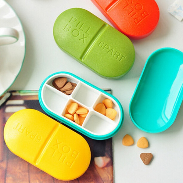 6 Spärrar Medicin Sorter Pill Box Case Hälsa