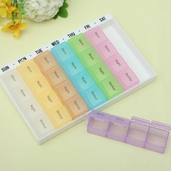 Dagligen Varje Vecka 28 Slot Pill Box Hållare Organizer Medicine Case Hälsa