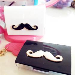 Vit Svart Mustasch Kontaktlins Box Case Set
