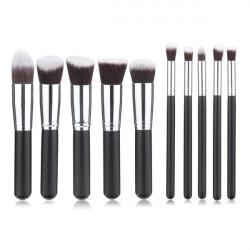 10stk Sort Syntetisk Cosmetic Makeup Værktøj Blush Pulver Børste Pensel Sæt Kit