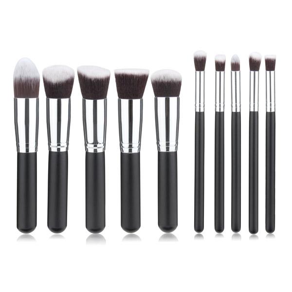 10stk Sort Syntetisk Cosmetic Makeup Værktøj Blush Pulver Børste Pensel Sæt Kit Makeup