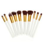 10stk Hvid Foundation Makeup Værktøj Kosmetiske Børster Pensler Sæt Kit Makeup