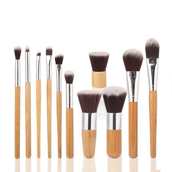 11 Pcs Bamboo Handle Makeup Eyeshadow Blush Concealer Brush Set Makeup
