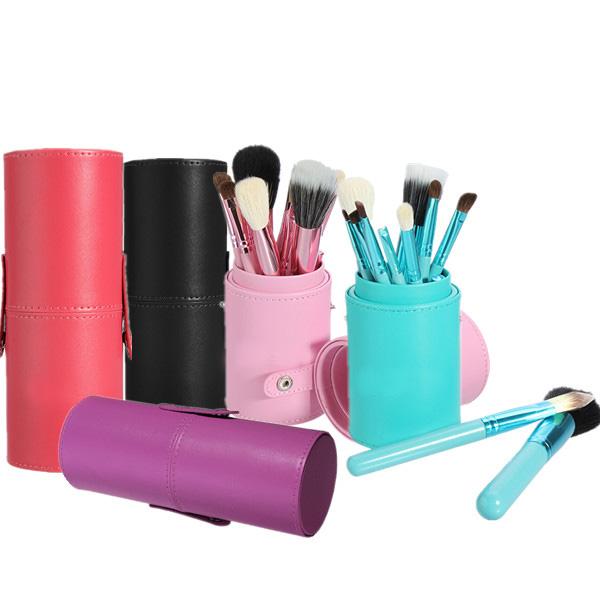 12stk Professionel Makeup Cosmetic Børste Pensel Sæt Cylinder Læder Taske Makeup