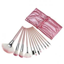 12pcs Cosmetic Makeup Powder Brush Set Foundation Leather Case