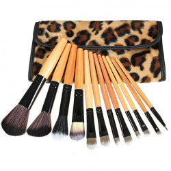 12pcs Leopard Cosmetic Makeup Powder Brush Set With Leather Case