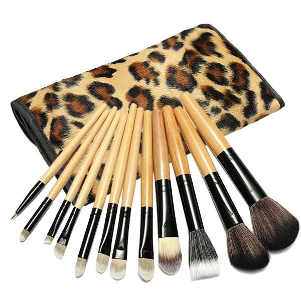 12stk Pro Makeup Børster Pensler Sæt Kosmetiske Værktøj med Leopard Bag Makeup