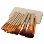 12pcs Professional Makeup Cosmetic Brushes Set With Metal Boxes Makeup