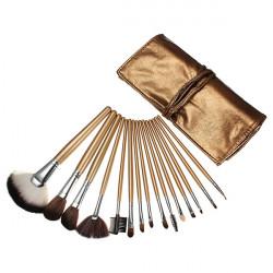 15pcs Cosmetic Makeup Powder Brush Set Foundation Leather Case