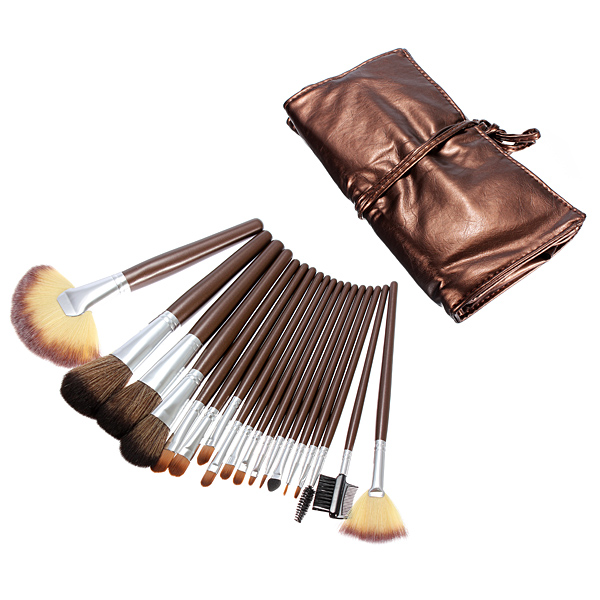 18pcs Pro Portable Makeup Cosmetic Brush Set Kit w leather Case Makeup