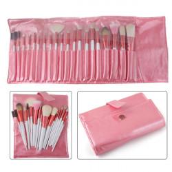 20pcs Makeup Cosmetic Brushes Set Kit Pink Leather Case