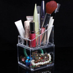 2 Tiers Akryl Clear Kosmetiske Container Makeup Opbevaring Organizer