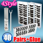 40 Paare 4 Styles Falsche schwarze lange Wimpern frei Leim Schminke
