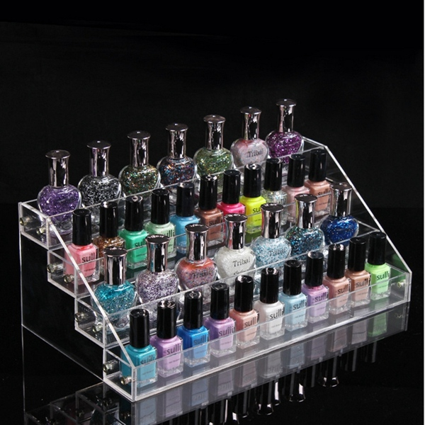 4 Tiers Acrylic Nail Polish Display Stand Cosmetic Organizer Makeup