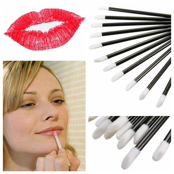 50Pcs Disposable Lip Lipstick Gloss Wands Brush Makeup