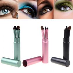 5 Pcs Makeup Cosmetic Eye Shadow Lip Brushes Set Cylinder Case
