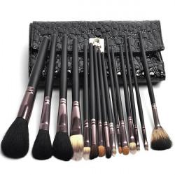 Schwarz 15stk Wolle Kosmetik Pinsel Sätze mit PU Leder Tasche Kit