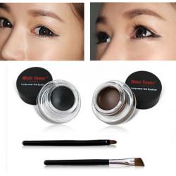 Schwarz Braun Farbe Langfris tragen Gel Eyeliner Pinsel Set