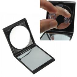 Svart Bärbar Hopfällbar Dubbelsidig Förstorings Makeup Spegel