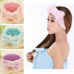 Bowknot Fibre Haar wickeln Bath Spa Makeup Stirnband Hairband