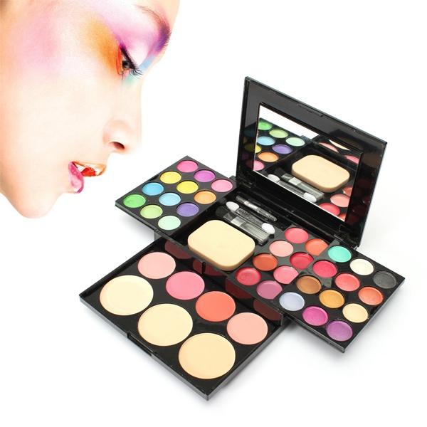 Ögonskugga Blusher Läppglans Powder Foundation Puff Makeup Palett Set Smink