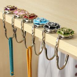 Flower Design Folding Handbag Hållare Väskhängare Purse Tabell Hook