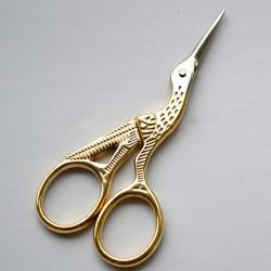 Guld Vintagestil Crane Formad Broderi Sömnad Ögonbryn Scissor