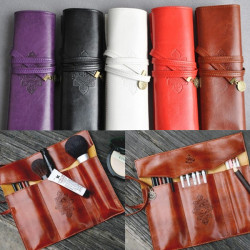 Leather Folding Strap Case Makeup Cosmetic Brush Pouch