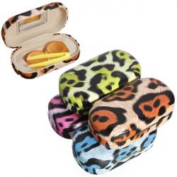 Leopard Druck Kontaktlinse Kasten Spielraum Kontaktlinsenbehälter mit Spiegel
