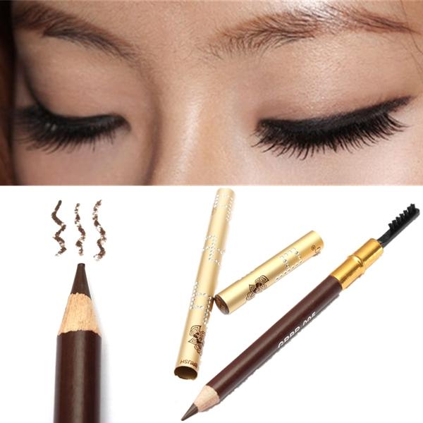 Naturlig Lång Livslängd Mörkt Kaffe Eyeliner Eyebrow Pencil Sminkborste Smink