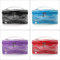 Portable Transparent Lace Flower Pouch Cosmetic Makeup Bag