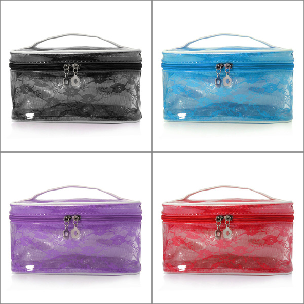 Portable Transparent Lace Flower Pouch Cosmetic Makeup Bag Makeup