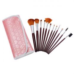 Professionelle Make up Pinsel Sets 12 mit Lederbeutel Pack Rosa