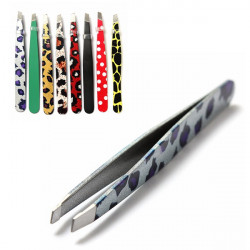 Stainless Steel Leopard RoundPrint Eyebrow Tweezers Cosmetic Tool