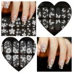 1-8 Transparent White Lace Crystal DIY Nail Sticker Naglar
