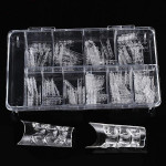 100Pcs Acrylic Transparent Crystal Mold Half Stick False Nail Tips Nail Art