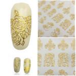 108stk Goldrosen Blumen Nagel Kunst Maniküre Aufkleber Aufkleber Nageldesign