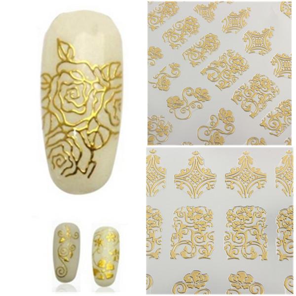 108stk Guld Rose Flowers Nail Art Manicure Stickers Decal Negle