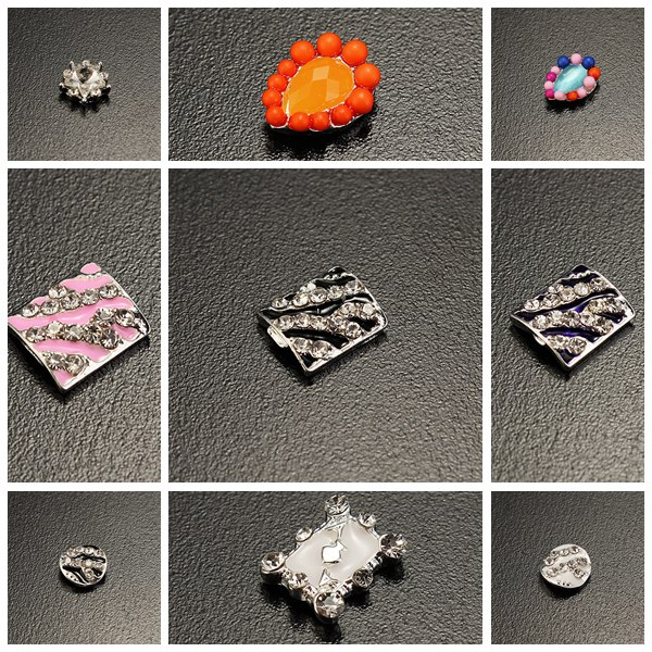 10st Orange Crystal Pärlor Metall Star Zebra Nagelkonst Dekoration Naglar
