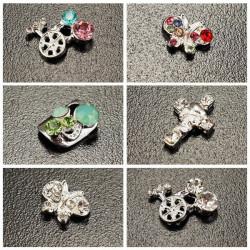 10st Skull Krucifix Crystal Metall Shiny Manikyr Nagelkonst Dekoration